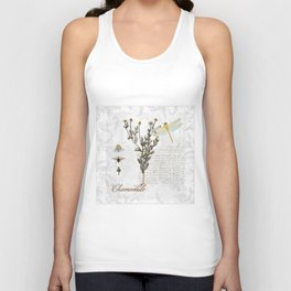 Chamomile Herb, Dragonfly Bumble Bee Botanical painting, Cottage style Unisex Tank Top