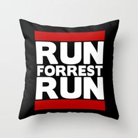 forrest gump Throw Pillows featuring Forrest Gump Run by Spyck