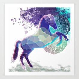 Dancing horse and mandala Art Print
