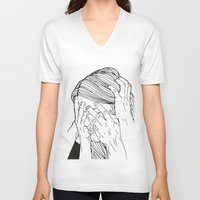 introvert V-neck T-shirts featuring Introvert 1 by Heidi Banford