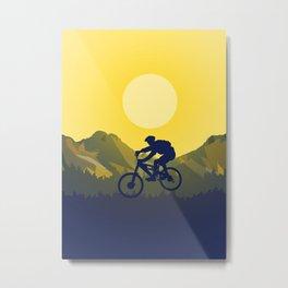 MTB Mountainbiker Minimalistic Landscape Metal Print