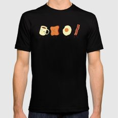 Let's All Go And Have Breakfast LARGE Black Mens Fitted Tee