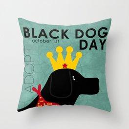 Black Dog Day Royal Crown Throw Pillow
