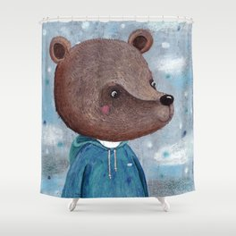 Little bear in a turquoise hoodie Shower Curtain