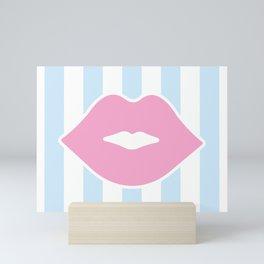 Pastel Lips with Stripes Mini Art Print