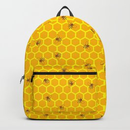 Mind Your Own Beeswax / Bright honeycomb and bee pattern Backpack