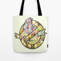 ghostbusters Tote Bags featuring candy ghostbusters by Iamzombieteeth Clothing