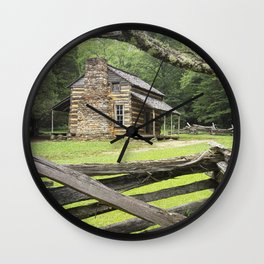 The Oliver Cabin in Cade's Cove in the Great Smokey Mountains Wall Clock