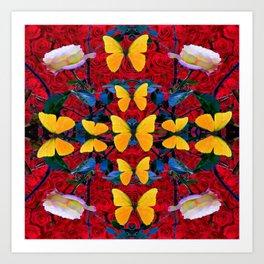 RED-WHITE ROSES & YELLOW BUTTERFLIES GARDEN Art Print