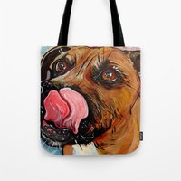 pit bull Tote Bags featuring Pit Bull by WOOF Factory