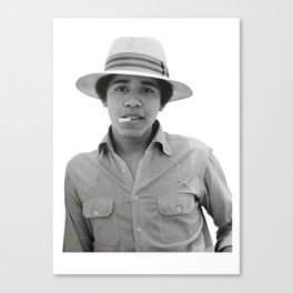 obama pose smoked Canvas Print