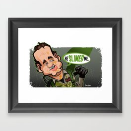 He Slimed Me Framed Art Print