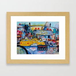 Times Square New York Yellow Taxi View Framed Art Print