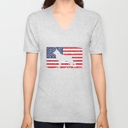 German Shepherd USA Flag Sheepdog Patriotic design Gift Unisex V-Neck