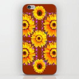 CINNAMON COLOR YELLOW SUNFLOWERS ART iPhone Skin