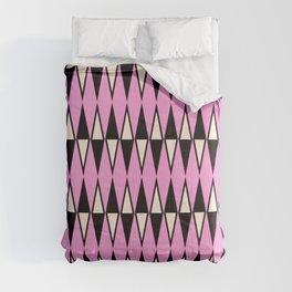 Mid Century Modern Diamond Pattern Black Pink 231 Comforters