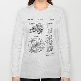 Movie Camera Patent - Film Camera Art - Black And White Long Sleeve T-shirt