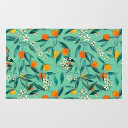 Orange Summer in Green Rug