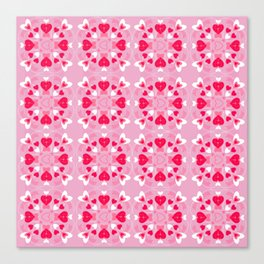 Valentine Pink, Red, White Hearts Canvas Print