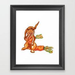 Hase auf der Möhre,Bunny on the carrot, Framed Art Print
