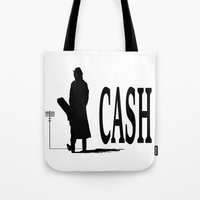 johnny cash Tote Bags featuring CASH by shannon's art space
