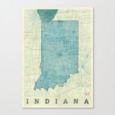Indiana State Map Blue Vintage Canvas Print