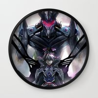 evangelion Wall Clocks featuring Kaworu Nagisa the Sixth. Rebuild of Evangelion 3.0 Digital Painting. by Barrett Biggers