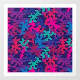 Wild Blue Pink and Green Camo Art Print
