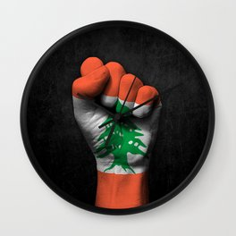 Lebanese Flag on a Raised Clenched Fist Wall Clock