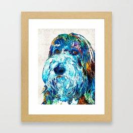 Bearded Collie Art 2 - Dog Portrait by Sharon Cummings Framed Art Print