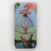 haunted mansion iPhone & iPod Skins featuring Haunted Mansion Portrait: Trapeze Girl by Jonathan R. Lopez