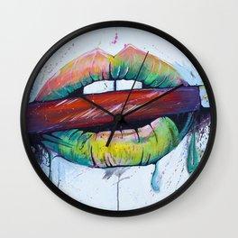 Painted Lips Wall Clock