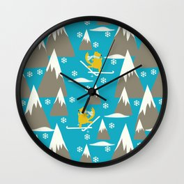Let's go skiing - Fabric pattern Wall Clock