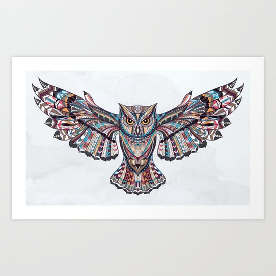 Colorful Ethnic Owl Art Print
