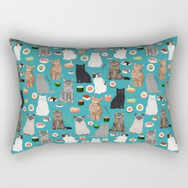 Cat Sushi pattern by pet friendly cute cat gifts for pet lovers foodies kitchen Rectangular Pillow