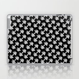 Dumbbellicious inverted / Black and white dumbbell pattern Laptop & iPad Skin