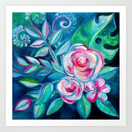 Tropical Camellia Extravaganza - oil on canvas Art Print
