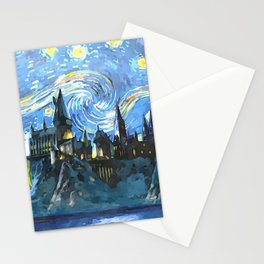 Starry Night in H magic castle Stationery Cards
