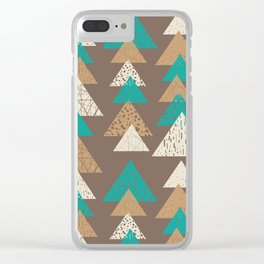 Abstract brown and turquoise pattern of triangels Clear iPhone Case