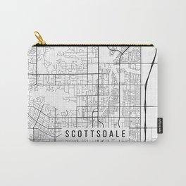 Scottsdale Map, Arizona USA - Black & White Portrait Carry-All Pouch