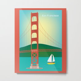 San Francisco, California - Skyline Illustration by Loose Petals Metal Print