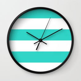 Wide Horizontal Stripes - White and Turquoise Wall Clock