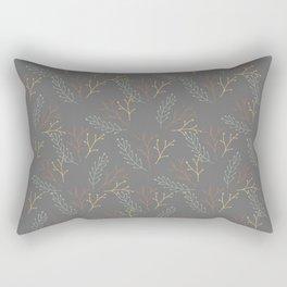 Floral Pattern in Dark Grey, Orange and Yellow Rectangular Pillow