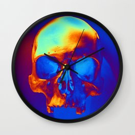 Skull in blue and gold Wall Clock