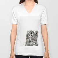 kitten V-neck T-shirts featuring Kitten by Vicky Lewis