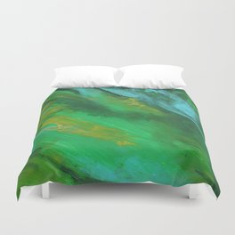 Square Green Abstract Acrylic Painting Duvet Cover