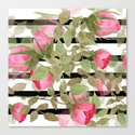 Watercolor . Buds of roses on a striped black and white background by fuzzyfox85