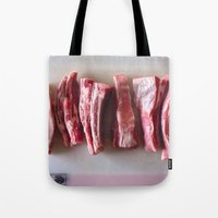 meat Tote Bags featuring Meat Meat Meat  by The Avant-Garden