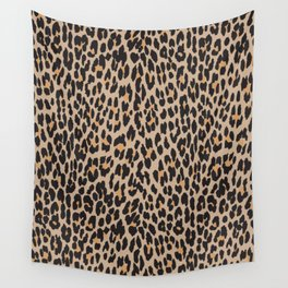 Animal Print, Spotted Leopard - Brown Black Wall Tapestry