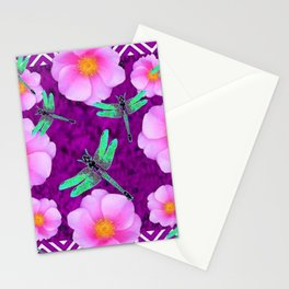 Aqua Dragonflies Pink Roses Purple Abstract Pattern Art Stationery Cards
